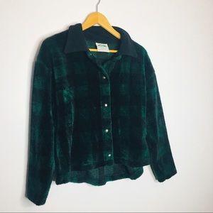 Vintage hidden bag plaid fleece jacket USA
